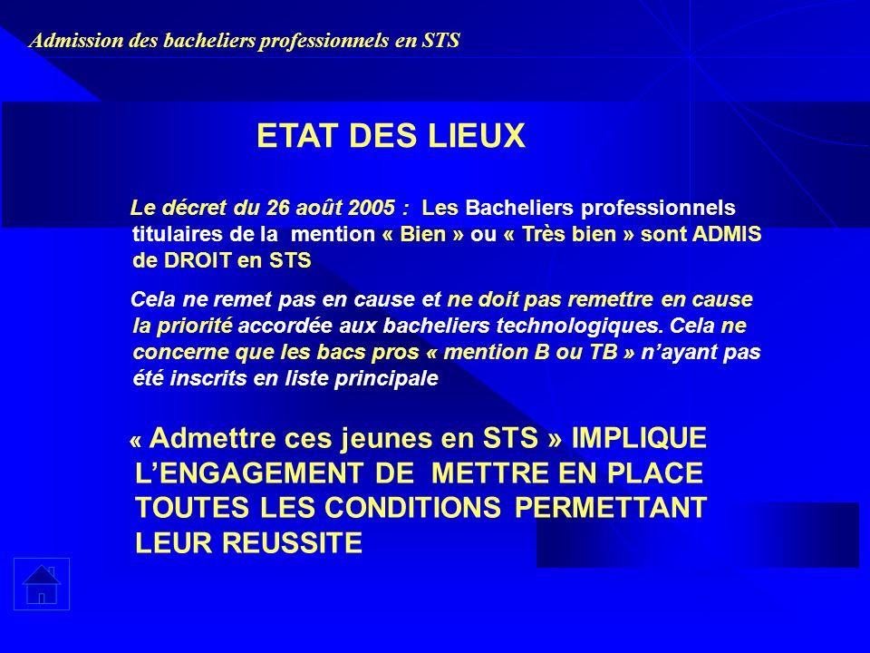 Admission des bacheliers professionnels en STS Le décret du 26 août 2005 : Les Bacheliers professionnels titulaires de la mention « Bien » ou « Très bien » sont ADMIS de DROIT en STS Cela ne remet pas en cause et ne doit pas remettre en cause la priorité accordée aux bacheliers technologiques.