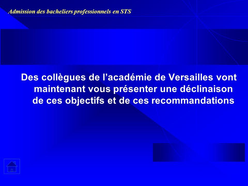 Admission des bacheliers professionnels en STS Des collègues de lacadémie de Versailles vont maintenant vous présenter une déclinaison de ces objectifs et de ces recommandations