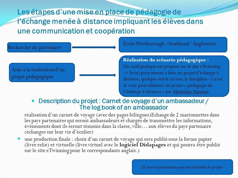 Description du projet : Carnet de voyage dun ambassadeur / The log book of an ambassador réalisation dun carnet de voyage (avec des pages bilingues)Ec