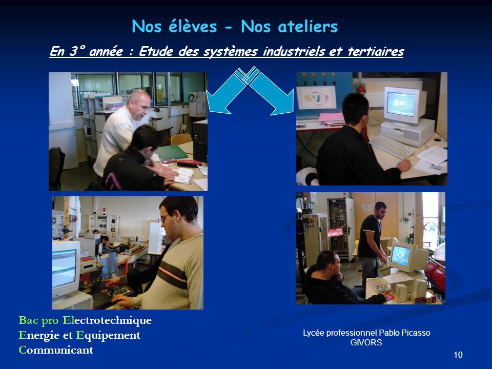10 Nos élèves - Nos ateliers En 3° année : Etude des systèmes industriels et tertiaires Bac pro Electrotechnique Energie et Equipement Communicant Lyc