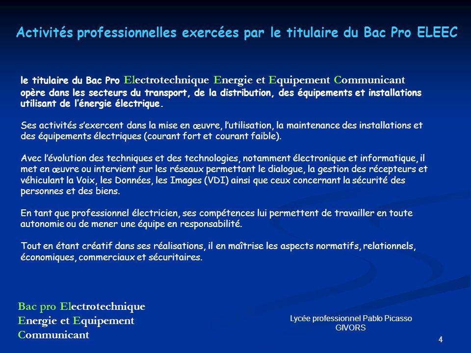 4 le titulaire du Bac Pro Electrotechnique Energie et Equipement Communicant opère dans les secteurs du transport, de la distribution, des équipements