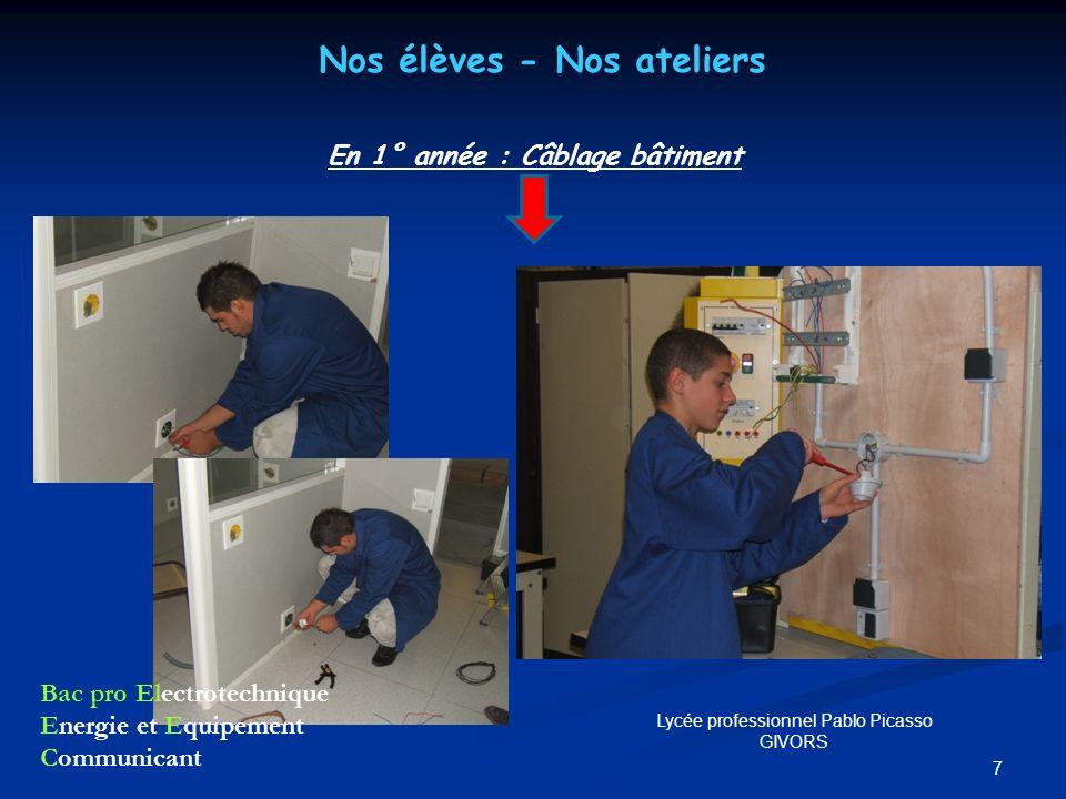 7 Nos élèves - Nos ateliers En 1° année : Câblage bâtiment Bac pro Electrotechnique Energie et Equipement Communicant Lycée professionnel Pablo Picass