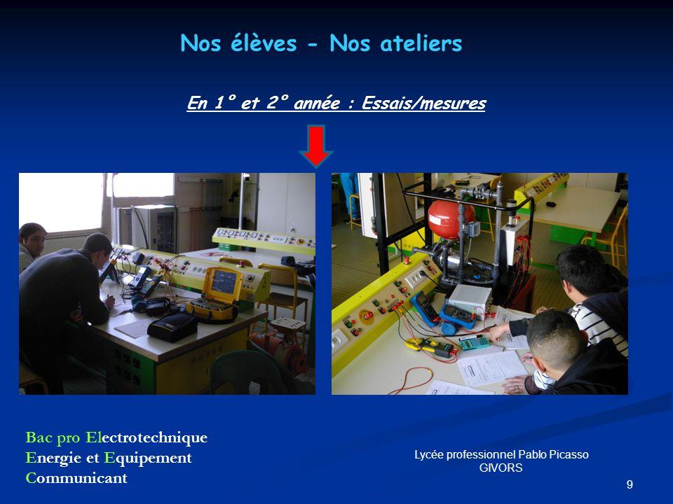 9 Nos élèves - Nos ateliers En 1° et 2° année : Essais/mesures Bac pro Electrotechnique Energie et Equipement Communicant Lycée professionnel Pablo Pi