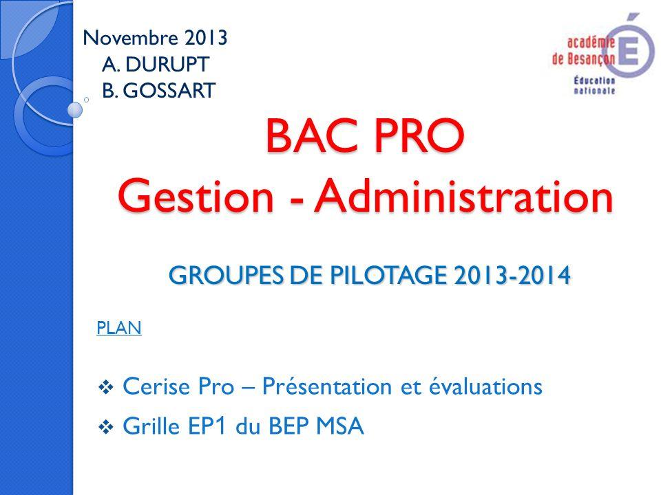 BAC PRO Gestion - Administration GROUPES DE PILOTAGE 2013-2014 Novembre 2013 A. DURUPT B. GOSSART PLAN Cerise Pro – Présentation et évaluations Grille
