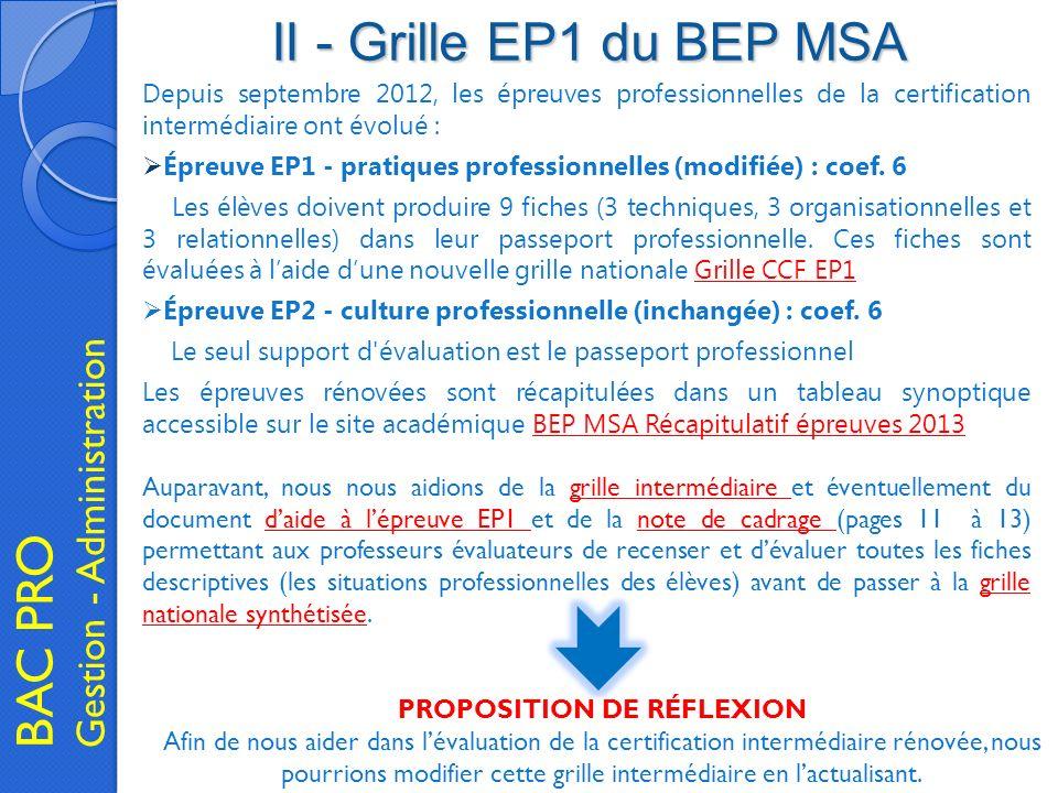 II - Grille EP1 du BEP MSA BAC PRO Gestion - Administration Depuis septembre 2012, les épreuves professionnelles de la certification intermédiaire ont