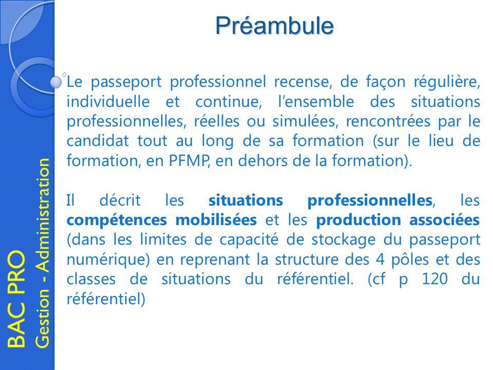 Préambule BAC PRO Gestion - Administration Le passeport professionnel recense, de façon régulière, individuelle et continue, lensemble des situations