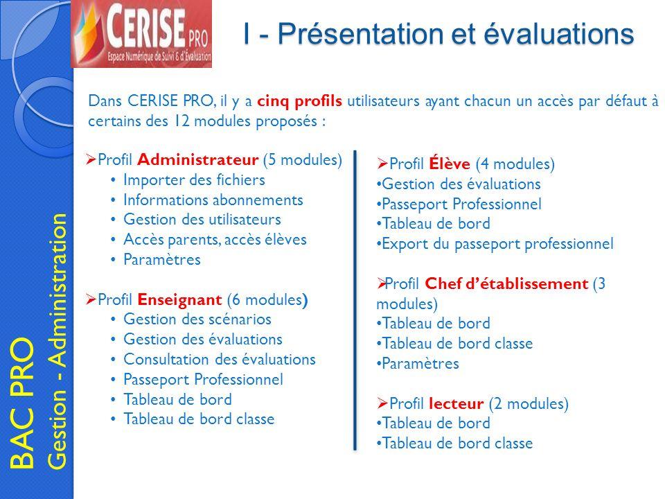 I - Présentation et évaluations BAC PRO Gestion - Administration Profil Administrateur (5 modules) Importer des fichiers Informations abonnements Gest