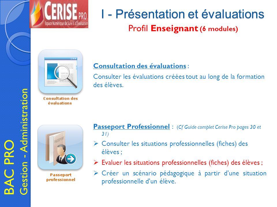 I - Présentation et évaluations BAC PRO Gestion - Administration Profil Enseignant (6 modules) Passeport Professionnel : (Cf Guide complet Cerise Pro