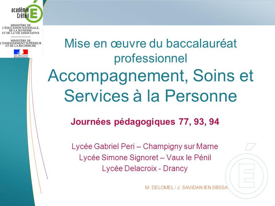 Mise en œuvre du baccalauréat professionnel Accompagnement, Soins et Services à la Personne Journées pédagogiques 77, 93, 94 Lycée Gabriel Peri – Cham