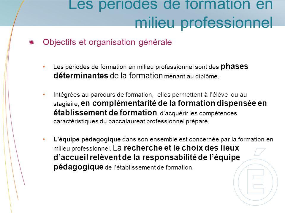 Les périodes de formation en milieu professionnel Objectifs et organisation générale Les périodes de formation en milieu professionnel sont des phases
