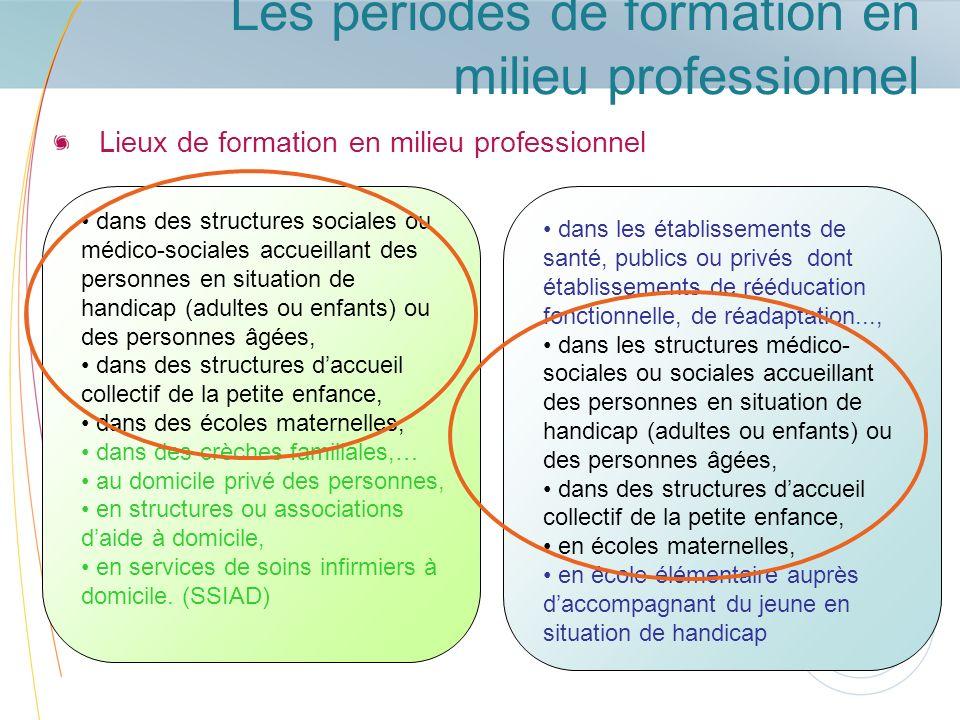 Les périodes de formation en milieu professionnel Lieux de formation en milieu professionnel dans des structures sociales ou médico-sociales accueilla