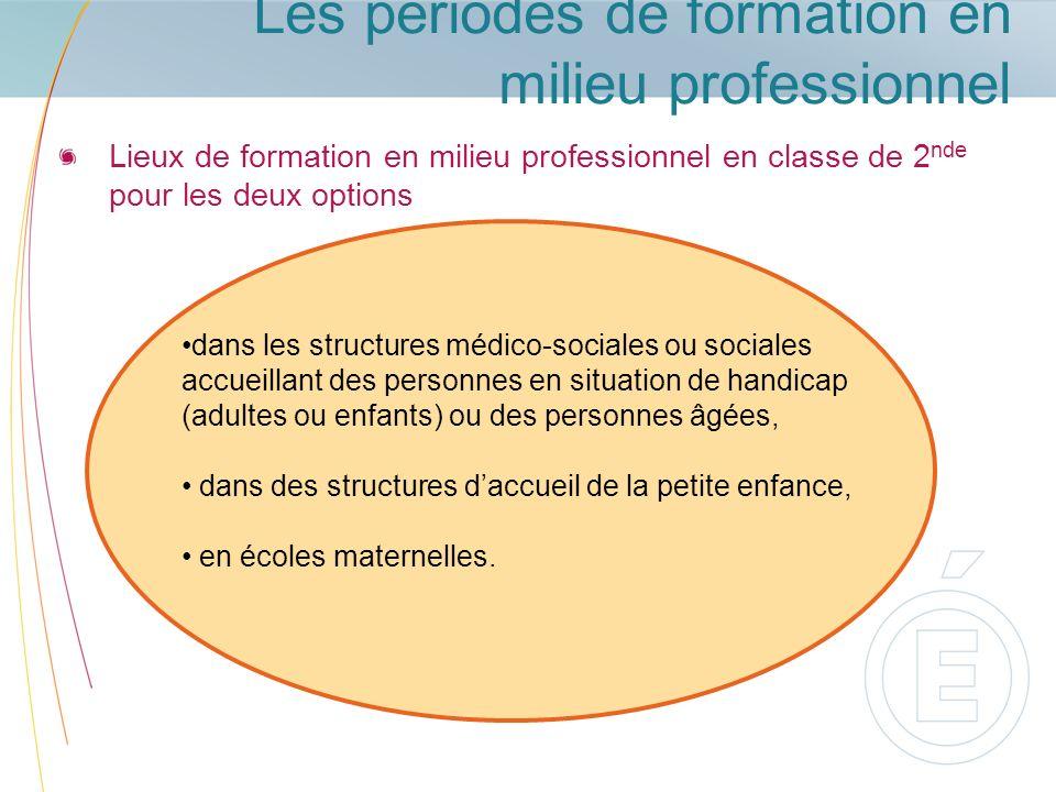 Les périodes de formation en milieu professionnel Lieux de formation en milieu professionnel en classe de 2 nde pour les deux options dans les structu
