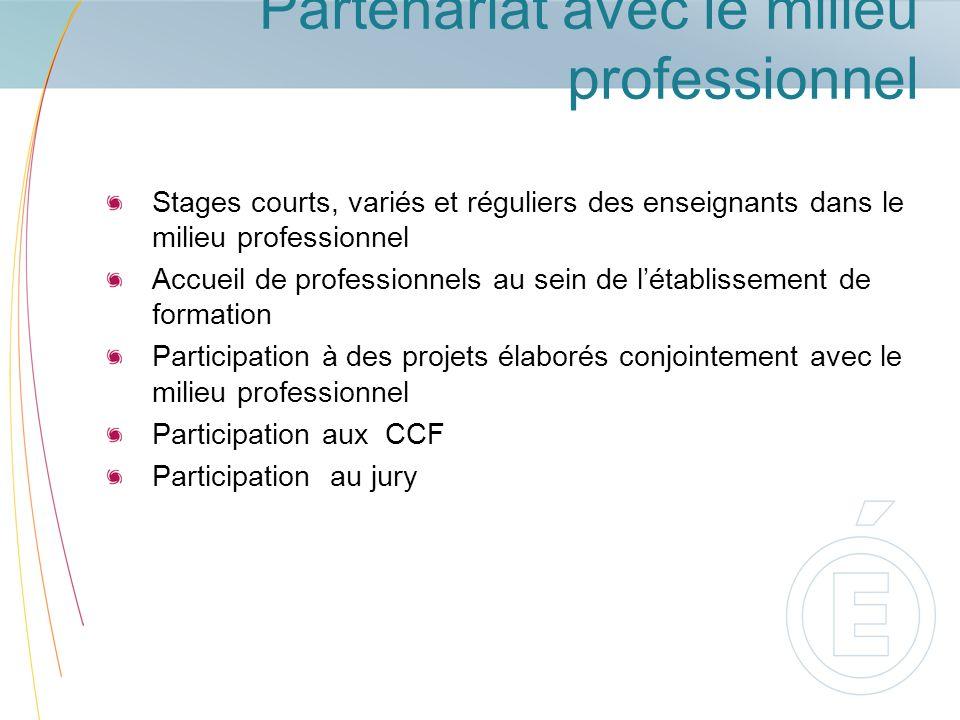 Partenariat avec le milieu professionnel Stages courts, variés et réguliers des enseignants dans le milieu professionnel Accueil de professionnels au