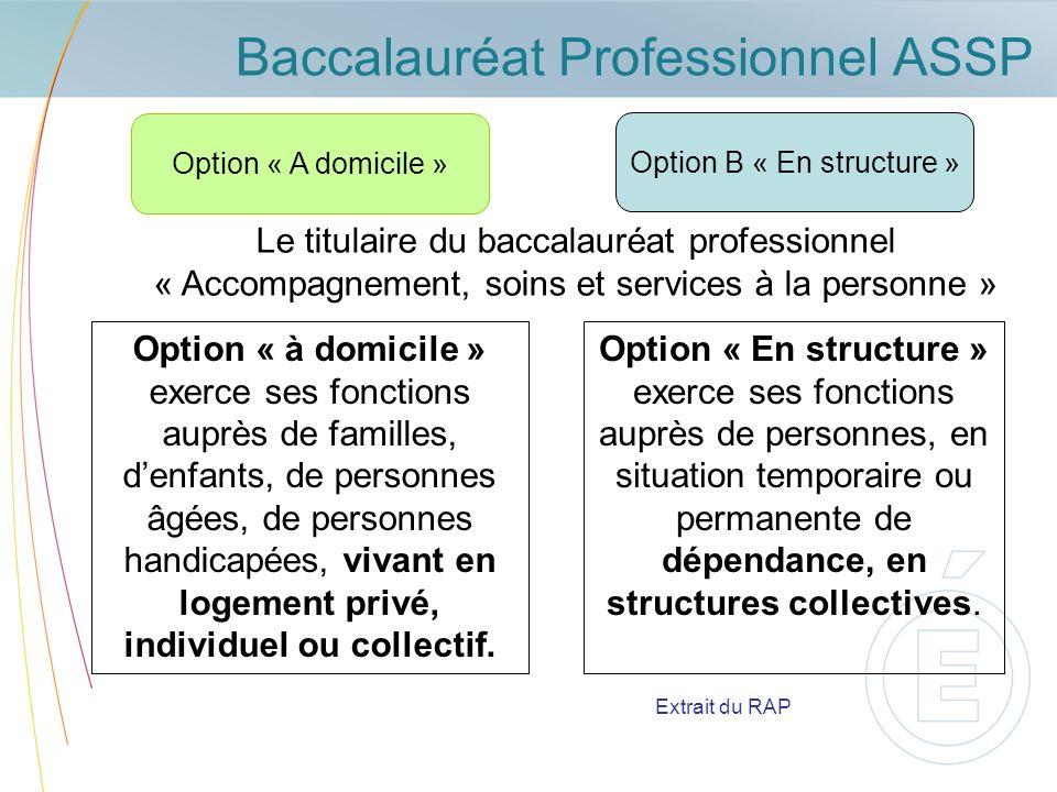 Baccalauréat Professionnel ASSP Option « A domicile » Option « à domicile » exerce ses fonctions auprès de familles, denfants, de personnes âgées, de