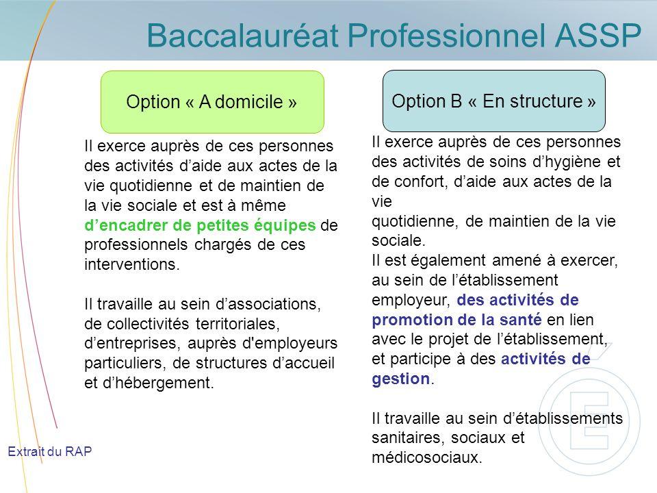 Baccalauréat Professionnel ASSP Baccalauréat Professionnel Accompagnement Soins et services à la personne BAC PRO ASSP Option « A domicile » Les activités sont davantage tournées vers la vie quotidienne à domicile,secteur qui tend à se développer.
