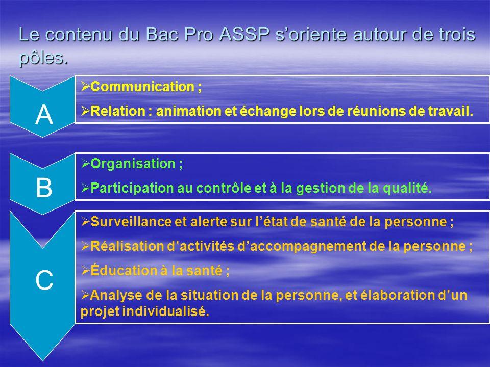 Le contenu du Bac Pro ASSP soriente autour de trois pôles. Communication ; Relation : animation et échange lors de réunions de travail. Organisation ;