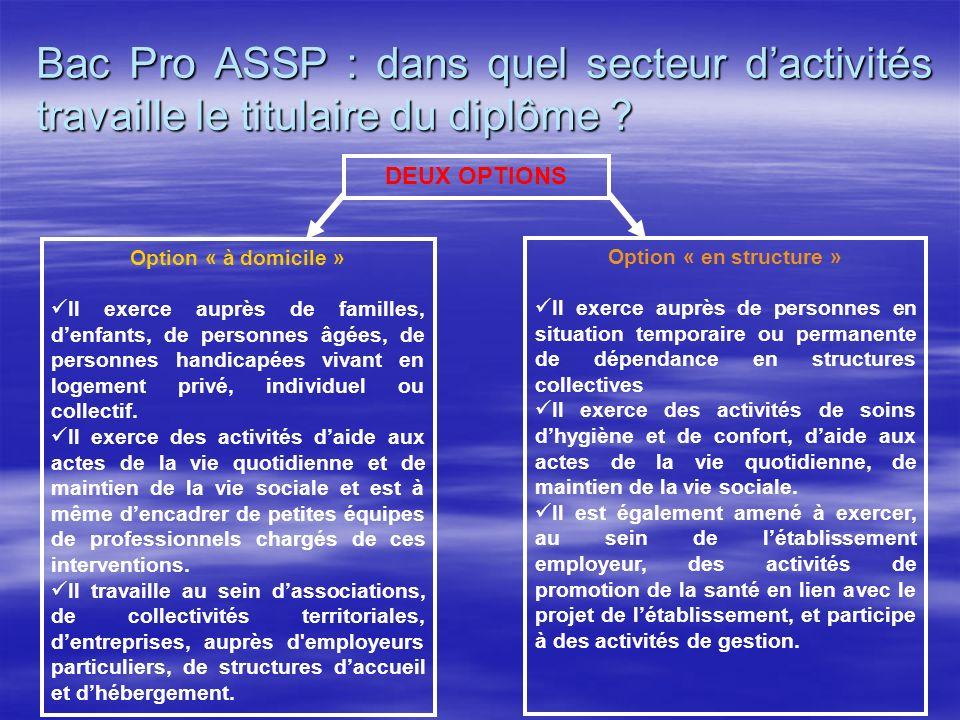 Bac Pro ASSP : dans quel secteur dactivités travaille le titulaire du diplôme ? DEUX OPTIONS Option « à domicile » Il exerce auprès de familles, denfa