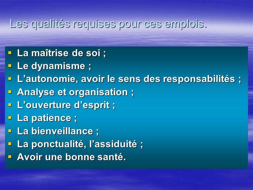 La maîtrise de soi ; La maîtrise de soi ; Le dynamisme ; Le dynamisme ; Lautonomie, avoir le sens des responsabilités ; Lautonomie, avoir le sens des
