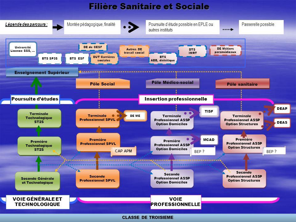 Filière Sanitaire et Sociale Montée pédagogique, finalitéPoursuite détude possible en EPLE ou autres instituts Légende des parcours : Passerelle possi