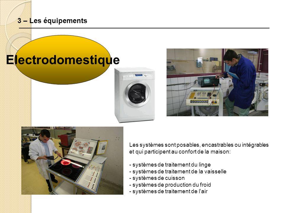 3 – Les équipements Electrodomestique Les systèmes sont posables, encastrables ou intégrables et qui participent au confort de la maison: - systèmes de traitement du linge - systèmes de traitement de la vaisselle - systèmes de cuisson - systèmes de production du froid - systèmes de traitement de l air