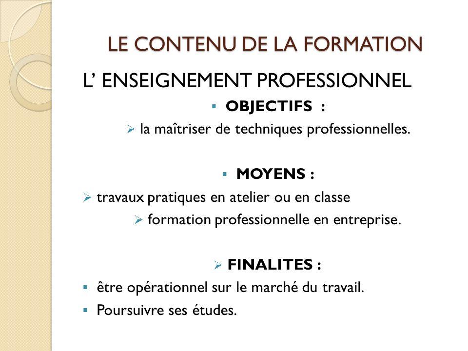 LE CONTENU DE LA FORMATION L ENSEIGNEMENT PROFESSIONNEL OBJECTIFS : la maîtriser de techniques professionnelles.