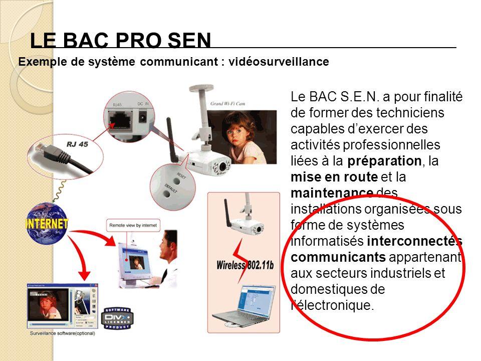 LE BAC PRO SEN Le BAC S.E.N. a pour finalité de former des techniciens capables dexercer des activités professionnelles liées à la préparation, la mis