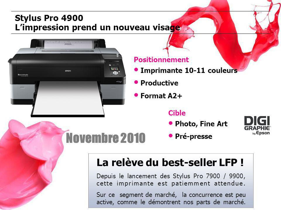 Stylus Pro 4900 Limpression prend un nouveau visage Positionnement Imprimante 10-11 couleurs Productive Format A2+ Cible Photo, Fine Art Pré-presse Novembre 2010 La relève du best-seller LFP .