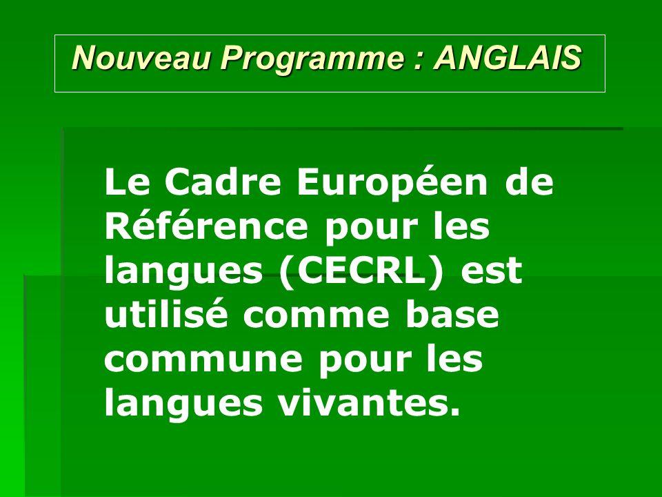 Nouveau Programme : ANGLAIS Nouveau Programme : ANGLAIS Le Cadre Européen de Référence pour les langues (CECRL) est utilisé comme base commune pour le