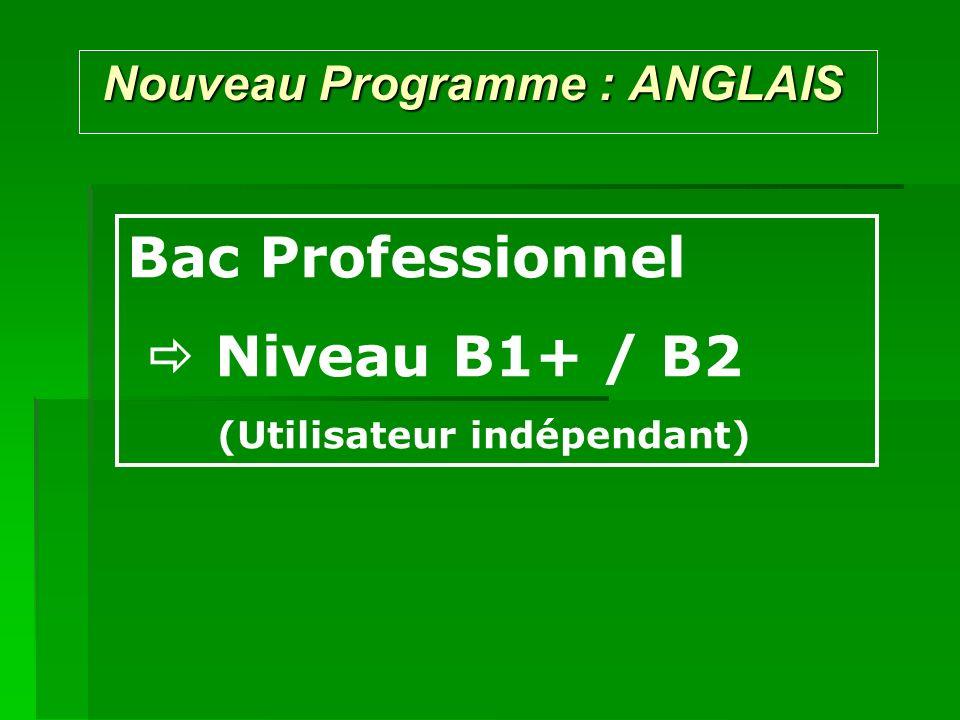 Nouveau Programme : ANGLAIS Nouveau Programme : ANGLAIS Bac Professionnel Niveau B1+ / B2 (Utilisateur indépendant)