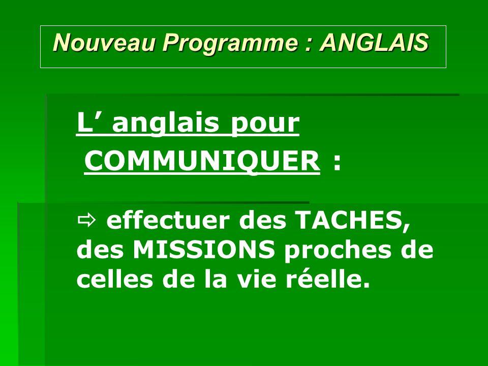 Nouveau Programme : ANGLAIS Nouveau Programme : ANGLAIS L anglais pour effectuer des TACHES, des MISSIONS proches de celles de la vie réelle. COMMUNIQ