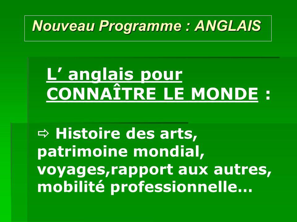 Nouveau Programme : ANGLAIS Nouveau Programme : ANGLAIS L anglais pour CONNAÎTRE LE MONDE : Histoire des arts, patrimoine mondial, voyages,rapport aux autres, mobilité professionnelle…