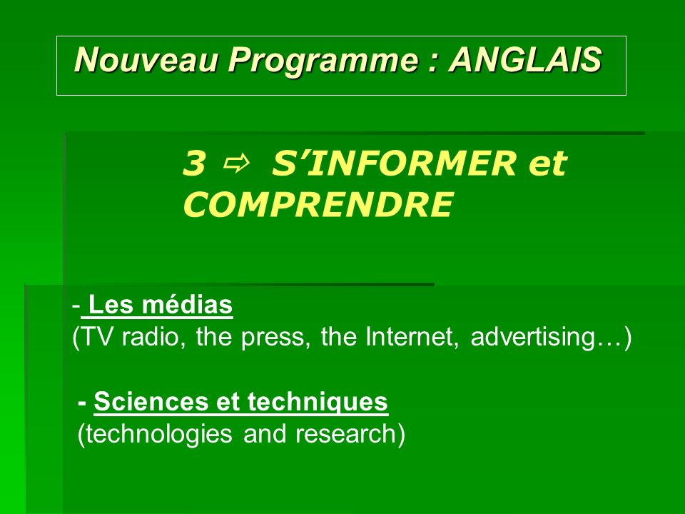 Nouveau Programme : ANGLAIS Nouveau Programme : ANGLAIS Possible SUBJECTS for the ORAL EXAM : A world of culture - Talk about your favourite film, music … - Present a famous work of architecture - Present a book of your choice ….