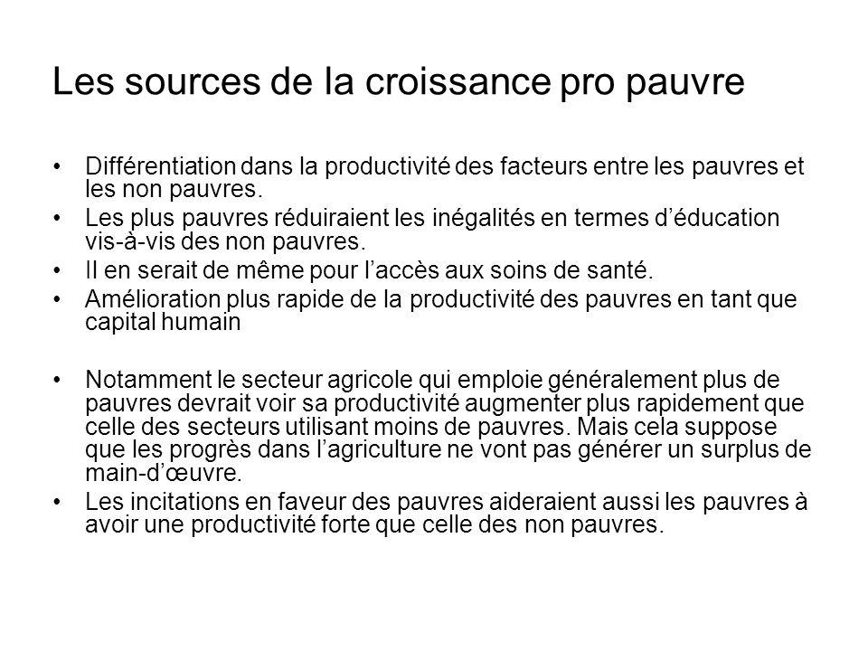 Les sources de la croissance pro pauvre Différentiation dans la productivité des facteurs entre les pauvres et les non pauvres.