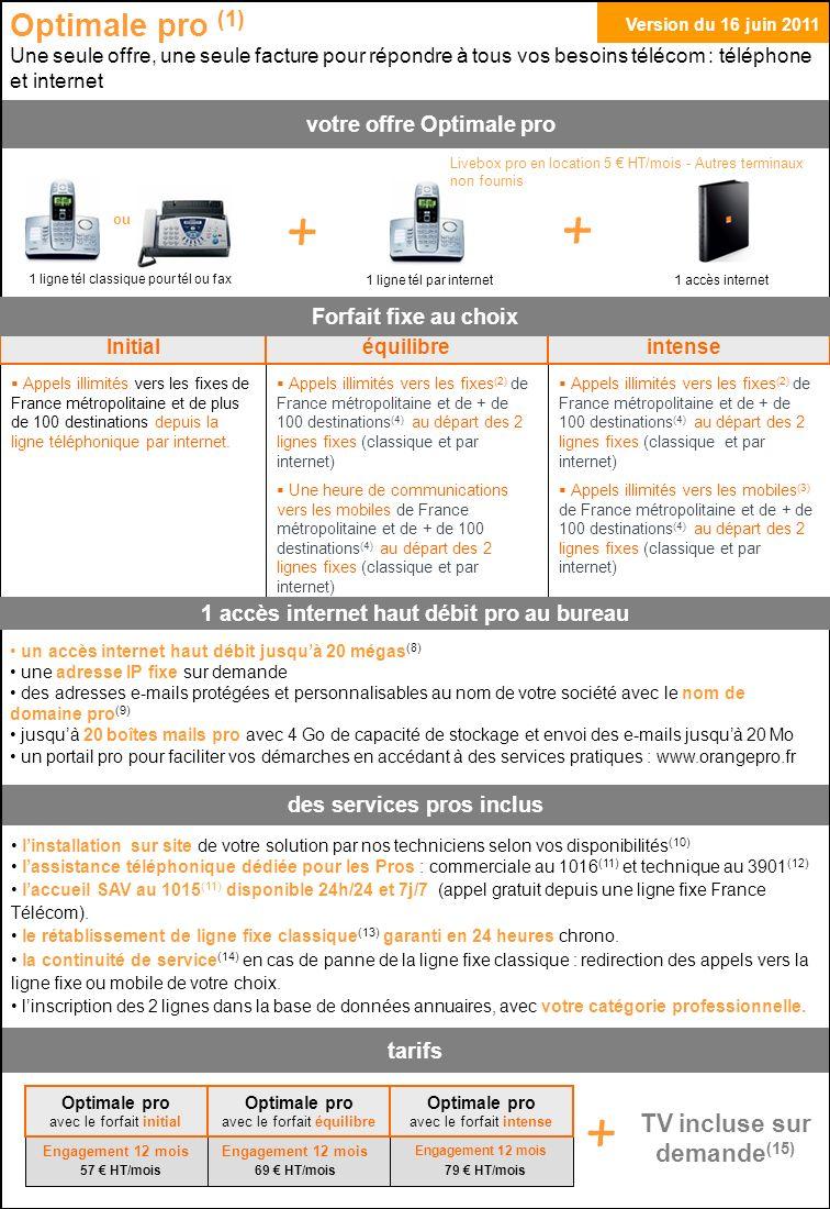 Optimale pro (1) Une seule offre, une seule facture pour répondre à tous vos besoins télécom : téléphone et internet 1 accès internet 1 ligne tél par internet 1 ligne tél classique pour tél ou fax Livebox pro en location 5 HT/mois - Autres terminaux non fournis linstallation sur site de votre solution par nos techniciens selon vos disponibilités (10) lassistance téléphonique dédiée pour les Pros : commerciale au 1016 (11) et technique au 3901 (12) laccueil SAV au 1015 (11) disponible 24h/24 et 7j/7 (appel gratuit depuis une ligne fixe France Télécom).