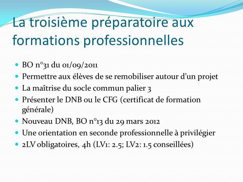 La troisième préparatoire aux formations professionnelles BO n°31 du 01/09/2011 Permettre aux élèves de se remobiliser autour dun projet La maîtrise d