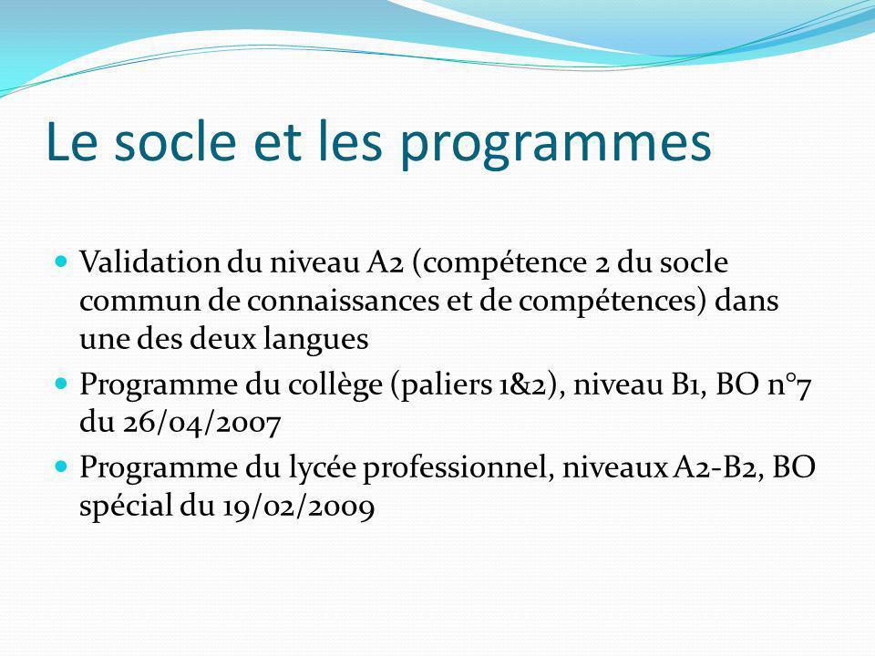 Le socle et les programmes Validation du niveau A2 (compétence 2 du socle commun de connaissances et de compétences) dans une des deux langues Program