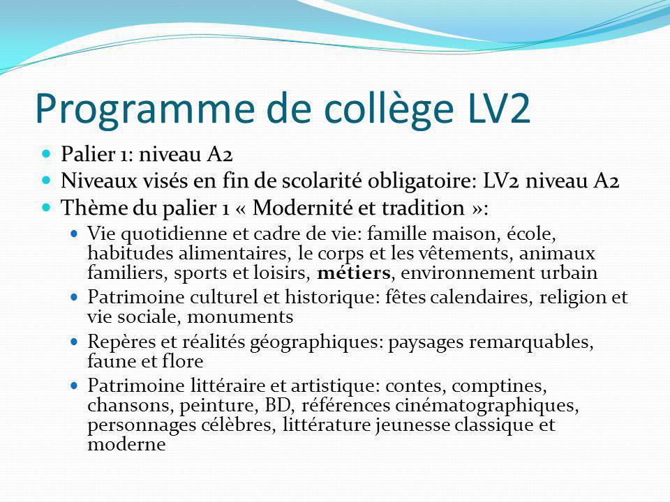 Programme de collège LV2 Palier 1: niveau A2 Niveaux visés en fin de scolarité obligatoire: LV2 niveau A2 Thème du palier 1 « Modernité et tradition »