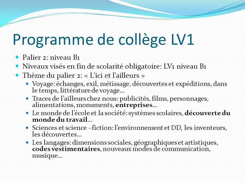 Programme de collège LV1 Palier 2: niveau B1 Niveaux visés en fin de scolarité obligatoire: LV1 niveau B1 Thème du palier 2: « Lici et lailleurs » Voy