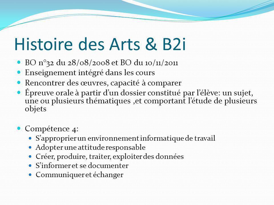 Histoire des Arts & B2i BO n°32 du 28/08/2008 et BO du 10/11/2011 Enseignement intégré dans les cours Rencontrer des œuvres, capacité à comparer Épreu