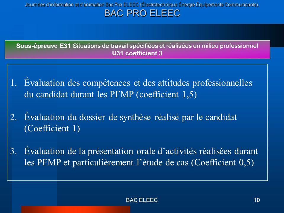 Journées dinformation et danimation Bac Pro ELEEC (Électrotechnique Énergie Équipements Communicants). BAC PRO ELEEC BAC ELEEC10 Sous-épreuve E31 Situ