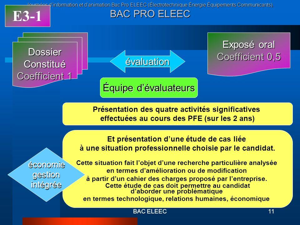 Journées dinformation et danimation Bac Pro ELEEC (Électrotechnique Énergie Équipements Communicants). BAC PRO ELEEC BAC ELEEC11 Exposé oral Coefficie