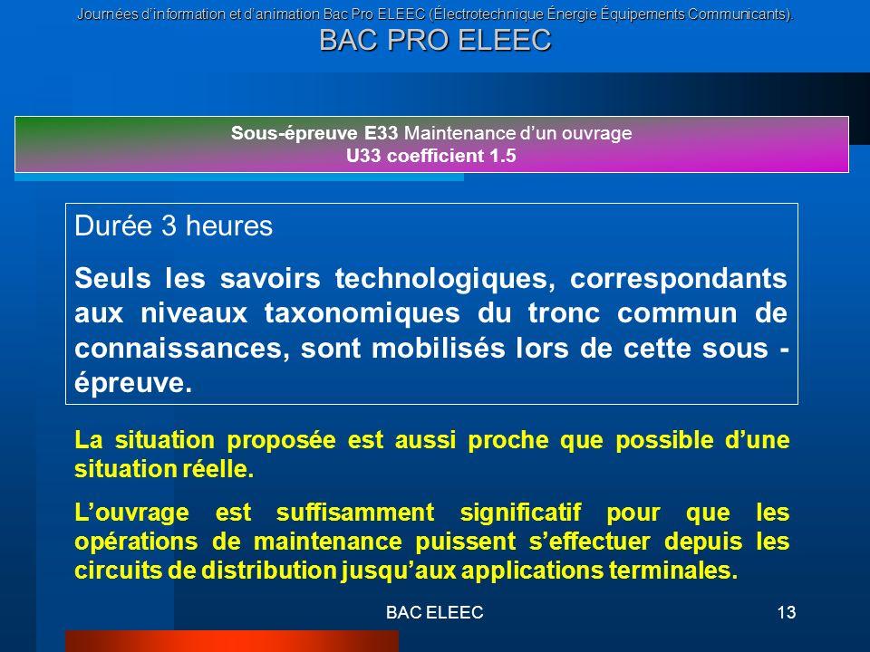 Journées dinformation et danimation Bac Pro ELEEC (Électrotechnique Énergie Équipements Communicants). BAC PRO ELEEC BAC ELEEC13 Sous-épreuve E33 Main