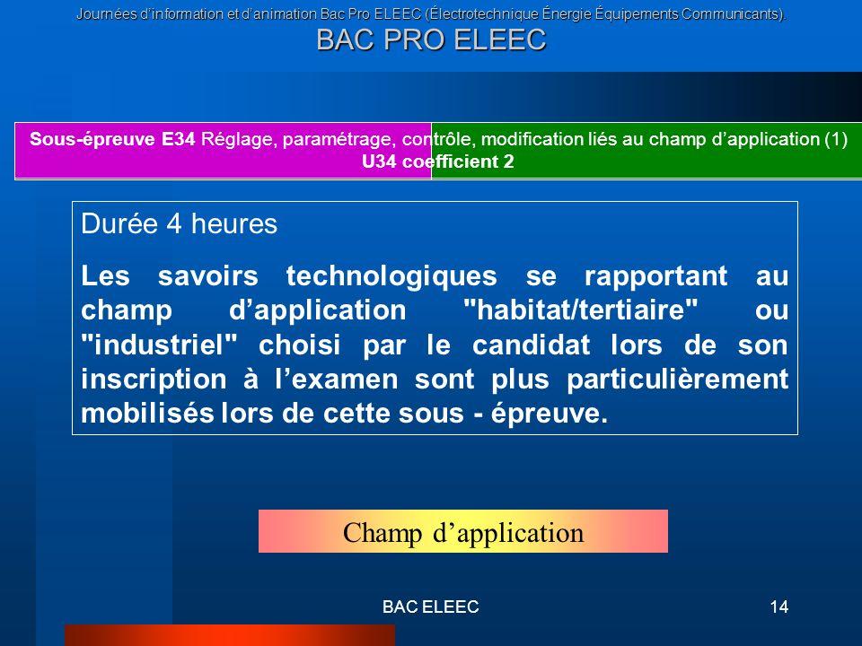 Journées dinformation et danimation Bac Pro ELEEC (Électrotechnique Énergie Équipements Communicants). BAC PRO ELEEC BAC ELEEC14 Sous-épreuve E34 Régl