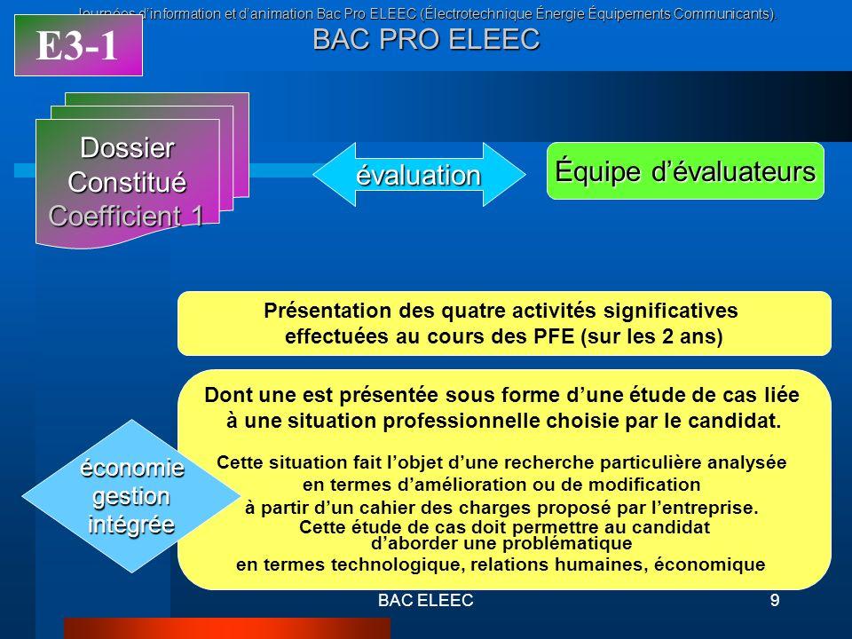 Journées dinformation et danimation Bac Pro ELEEC (Électrotechnique Énergie Équipements Communicants). BAC PRO ELEEC BAC ELEEC9 DossierConstitué Coeff