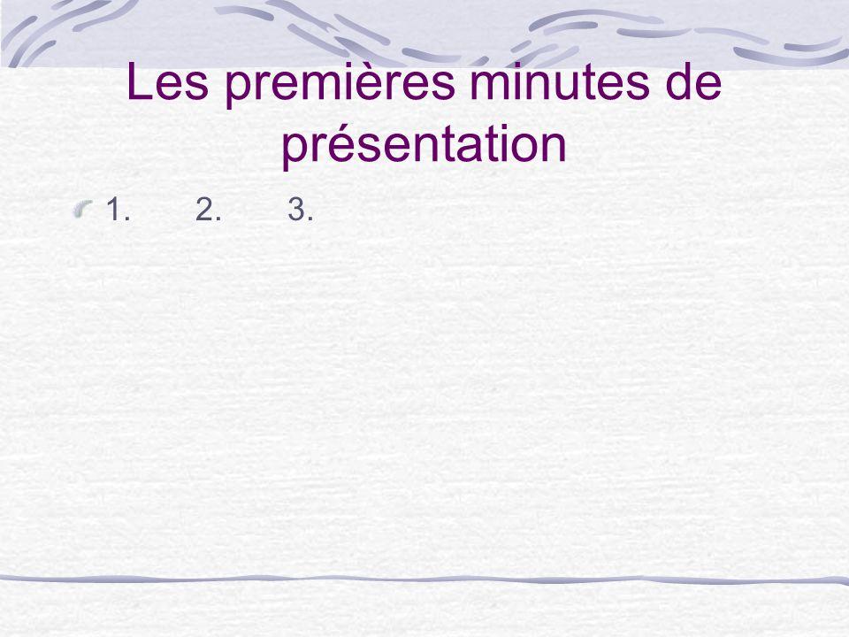 Les premières minutes de présentation 1. 2. 3.
