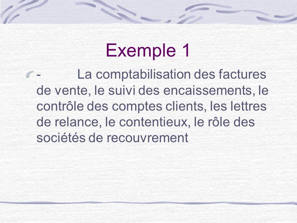 Exemple 1 - La comptabilisation des factures de vente, le suivi des encaissements, le contrôle des comptes clients, les lettres de relance, le contentieux, le rôle des sociétés de recouvrement