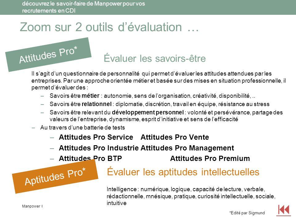 Manpower découvrez le savoir-faire de Manpower pour vos recrutements en CDI Zoom sur… 2 outils dévaluation AttitudesPro est un outil d évaluation informatisé qui vous aide à cerner au plus près les habiletés et traits de caractère des salariés dans un contexte professionnel.