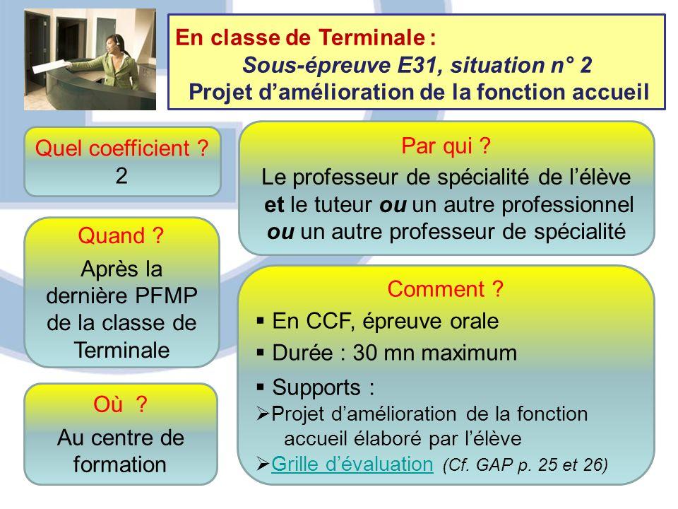 12 Quel coefficient ? 2 Quand ? Après la dernière PFMP de la classe de Terminale Comment ? En CCF, épreuve orale Durée : 30 mn maximum Supports : Proj