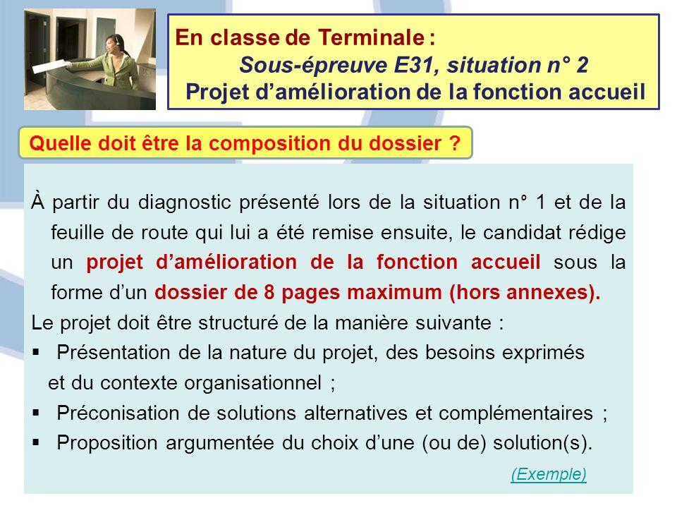 En classe de Terminale : Sous-épreuve E31, situation n° 2 Projet damélioration de la fonction accueil Quelle doit être la composition du dossier ? À p