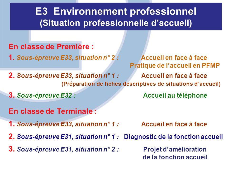 E3 Environnement professionnel (Situation professionnelle daccueil) En classe de Première : 1. Sous-épreuve E33, situation n° 2 : Accueil en face à fa